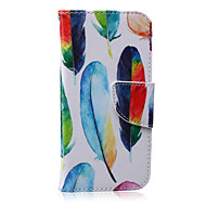 Colored Feathers Pattern PU Leather Material Phone Case for iPhone 6/6S