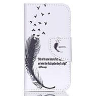 パターニングされた革の財布のスタンド付きiPod touchの5/6のためのケース - 羽と引用符