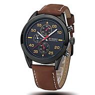CURREN 男性 軍用腕時計 リストウォッチ クォーツ 日本産クォーツ レザー バンド ブラック ブラウン