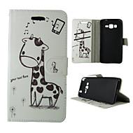 For Samsung Galaxy etui Kortholder / Pung / Med stativ / Flip Etui Heldækkende Etui Dyr Kunstlæder SamsungTrend Duos / J5 / J1 / Grand