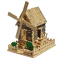 Jigsaw Puzzles 3D Puzzles / Wooden Puzzle Building Blocks DIY Toys Windmill Wood Beige Model & Building Toy