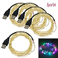 Jiawen 5pcs/lot USB 5M Waterproof Flexible 3W 50-0603 SMD RGB LED String Light - Silver (DC 5V)