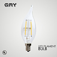 1 pcs GMY E12 2W 2 COB ≥200 lm Warm White CA10 Dimmable / Decorative LED Candle Lights AC120V 2700K Clear
