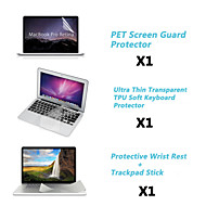 """Protective Clear Screen Guard+Thin Keyboard Cover+Metal Rest and Touch Panel Membrane for 13.3""""/15.4"""" MacBook Pro Retina"""