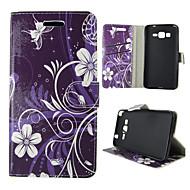 For Samsung Galaxy etui Kortholder Pung Med stativ Flip Etui Heldækkende Etui Blomst Kunstlæder for Samsung Trend Duos J5 J1 Grand Prime