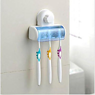 Plastic 5 Set Toothbrush Spinbrush DIY Wall Holder Suction Stand Bathroom