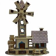 Jigsaw Puzzles 3D Puzzles Wooden Puzzles Building Blocks DIY Toys Windmill Wood Beige Model & Building Toy