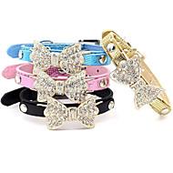 Gatos / Perros Cuello Ajustable/Retractable / Brillante Lazo Negro / Azul / Rosado / Dorado Cuero PU