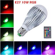 1 st HRY E26/E27 10W 10 Högeffekts-LED 800 lm RGB A60(A19) Dimbar / Fjärrstyrd / Dekorativ LED-scenelys AC 85-265 V