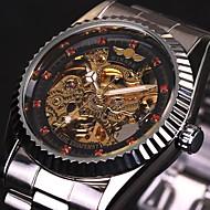 WINNER Herre Armbåndsur Mekanisk Klokke Hul Inngravering Automatisk selvopptrekk Rustfritt stål Band Luxury Sølv