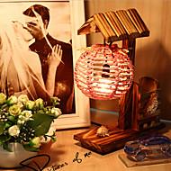 kreativa trä huset med penna container dekoration skrivbordslampa sovrummet lampa gåva för unge (slumpvis färg)