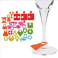 24pcs / lot de silicona partido vino botella de vidrio taza de la bebida etiquetas de identificación identifican taza etiqueta de color al