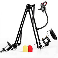 Shock Mount Microphone Stand Holder with Integrated Pop Filter Mobile Phone Holder Supporter and 2 Pieces of Filters Kit