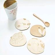 aranyos állat üreges fából faragott csésze bögre alátét asztal pad bolt bár tea kávé csésze mat (random)
