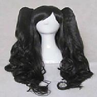 cartoon stijlvolle zwarte cosplay pruik synthetisch haar lange losse golvende geanimeerde pruiken meisje pruiken partij pruiken 012d