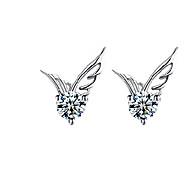 Kolczyki na sztyft Modny Słodkie Style Kryształ Posrebrzany Skrzydła / Feather Silver Biżuteria Na Ślub Impreza Codzienny Casual 2pcs