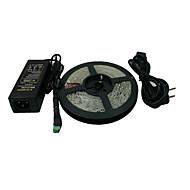 5M 600x3528 SMD hvid LED Strip Light and Connector og AC110-240V til DC12V6A Transformer