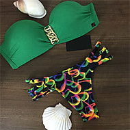 The New Explosion Models In Europe And America Green Bikini Swimsuit Sexy Lady Swimsuit Split Wheat