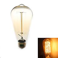 1 stk. Zweihnder E26/E27 40W 1 COB 500 lm Varm hvid ST64 edison Vintage LED-glødetrådspærer AC 220-240 V