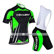 KEIYUEM® Maillot de Ciclismo con Shorts Bib Mujer / Hombres / Unisex Mangas cortasTranspirable / Secado rápido / A prueba de polvo /