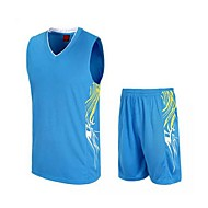 남성의-통기성 / 빠른 드라이 / wicking-민 소매-레저 스포츠 / 배드민턴 / 농구 / 달리기-의류 세트/수트(블랙 / 라이트 그린 / 밝은 블루)
