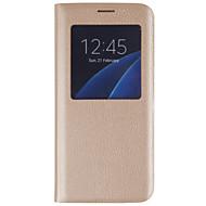 For Samsung Galaxy S7 Edge Med vindue Flip Etui Heldækkende Etui Helfarve Hårdt Kunstlæder for SamsungS7 edge S7 S6 edge plus S6 edge S6