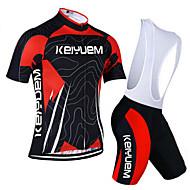 KEIYUEM רכיבת אופניים מדים בסטים יוניסקס אופניים נושם / ייבוש מהיר / עמיד לאבק / לביש / דחיסה / כיס אחורי / נמתח / תומך זיעה שרוול קצר