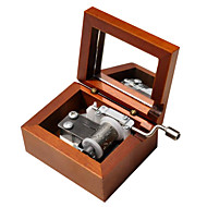 Wood Brown Creative Romantic Music Box for Gift