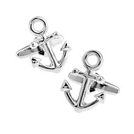 Men's Fashion Anchor Style Silver Alloy French Shirt Cufflinks (1-Pair)