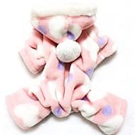 고양이 개 후드 점프 수트 파자마 핑크 강아지 의류 겨울 모든계절/가을 도트 무늬 귀여운 캐쥬얼/데일리