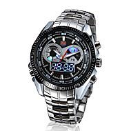 Hombre Reloj de Pulsera Cuarzo Japonés LED / Calendario / Resistente al Agua / Dos Husos Horarios / alarma Acero Inoxidable Banda Plata