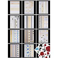 14 PCS Tatoeagestickers Sieraden Series / Bloemen Series Patroon / Onderrrug / Waterproof / MetallicDames / Heren / Volwassene / Tiener
