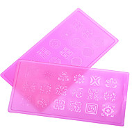 New 1pcs Stamping Lace Flower Nail Stamping Plates Plastic Nail Stamp Template Manicure