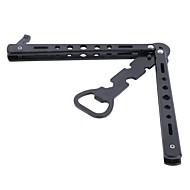 (Random color)1Pc Stainless Steel Bottle Opener Butterfly Knife Style Trainer Tool Metal Beer Black Bar