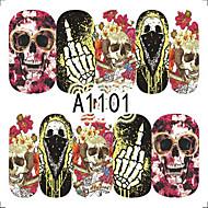 1pcs Nail Art Halloween Sticker Skull Flower Animal Pumpkin DIY Nail Art Decoration A1101-1105