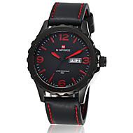 NAVIFORCE 男性 軍用腕時計 リストウォッチ カレンダー 耐水 クォーツ 日本産クォーツ レザー バンド ブラック ブラウン