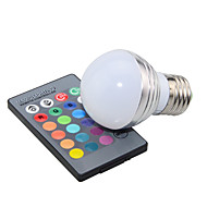 3W E14 / GU10 / E27 Globe Bulbs 1 High Power LED 200 lm RGB Dimmable / Remote-Controlled / Decorative AC 85-265 V 1 pcs
