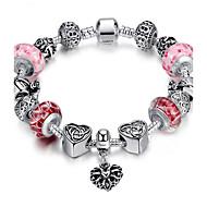 Dames Voor Stel Meisjes´ Bedelarmbanden Strand Armbanden ID Armbanden Duurzaam Modieus Verzilverd Ronde vorm Oranje Rood Groen Roze Gouden