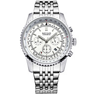 MEGIR® Men's Silver Stainless Steel Band Black/White Case 30M Water Resistant Noctilucent Dress Watch(Include Package)