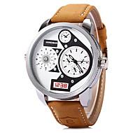 SHI WEI BAO 男性 軍用腕時計 ファッションウォッチ リストウォッチ 2タイムゾーン クォーツ レザー バンド クール カーキ