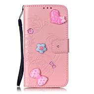 Voor Samsung Galaxy hoesje Portemonnee / Kaarthouder / Strass / met standaard / Flip / Reliëfopdruk / Patroon hoesje Volledige behuizing