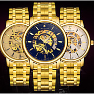 BOSCK Men's  Automatic Mechanical Hollow Dial Luminous Gold Steel Band Wrist Watch