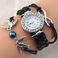 Dame Modeur Armbåndsur Quartz Rhinsten Imiteret Diamant PU Bånd Vintage Glitrende Hjerteformet Bohemisk Perler Sej AfslappetSort Hvid