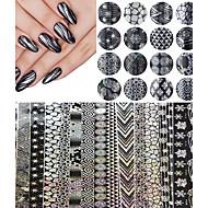 16pcs 20cm*4cm Halloween Style Nail Art Snowflake Nail Transfer Foil Sticker Decal Adhesive Nail Tips Decorations