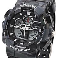 EXPONI Męskie Sportowy Wojskowy Modny Zegarek na nadgarstek KwarcowyLED LCD Kalendarz Chronograf Wodoszczelny Dwie strefy czasowe alarm