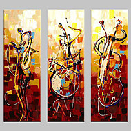 tocar instrumentos decoración del hogar del arte abstrac murales pintados a mano de pintura al óleo en la lona 3pcs / set sin marco