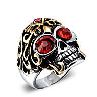 Statementringen Zirkonia Titanium Staal Doodshoofdvorm Modieus Vintage Punk-stijl Rood Blauw Sieraden Dagelijks Causaal Kerstcadeaus1
