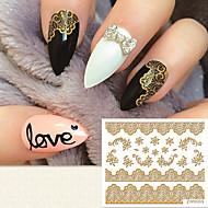 Moda złocenia 3d koronki naklejki do paznokci