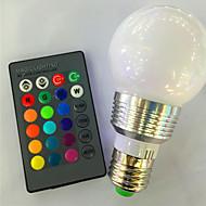 Ac85-265v 3w e26 / e27 rgb kauko-ohjaimen värjäytyminen johtanut älykkäät lamput1pc
