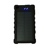 12000mAhteho pankki ulkoinen akku Aurinkopaneelilataus / Multi-Output / Takulamppu 12000 Output 1:5V 1000mA Output 2:5V 1000mA